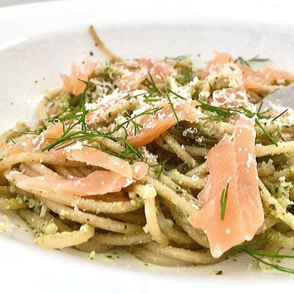 Smoked Salmon Spaghetti With Basil Pesto